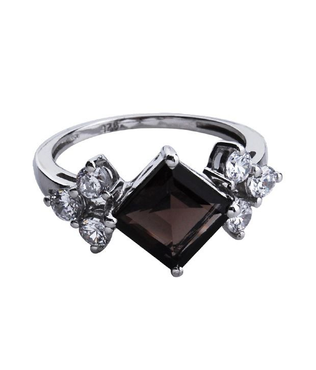 Zevrat Sleek Smoky Quartz Silver Ring