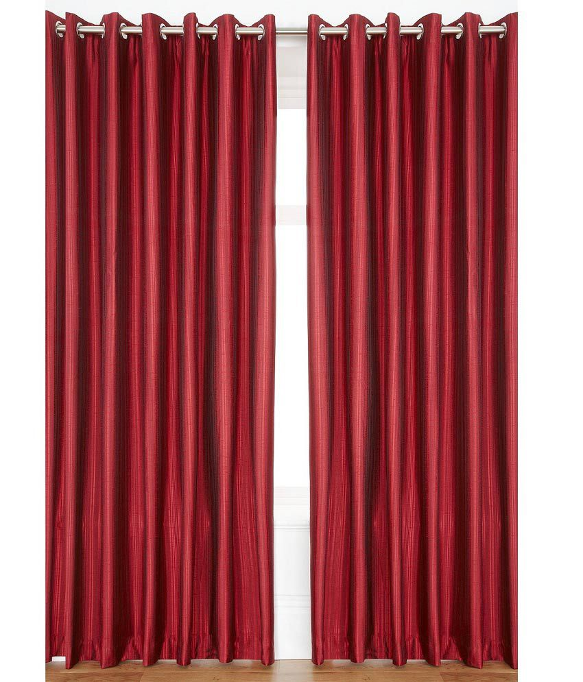 Homefab India Set of 2 Door Eyelet Curtains Solid Red
