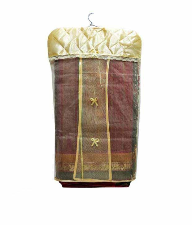 A-Maze Golden Satin Hanging Saree Cover - Set of 3