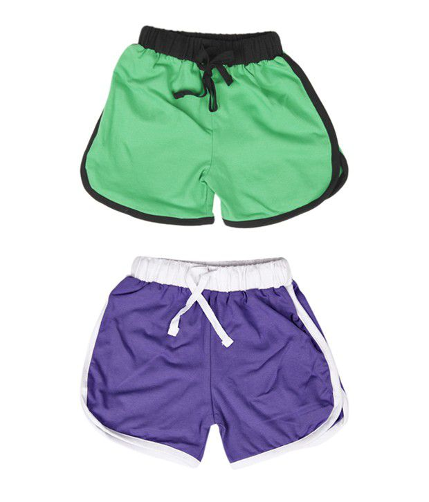 Robinbosky Attractive Green and Purple Combo of 2 Shorts For Kids