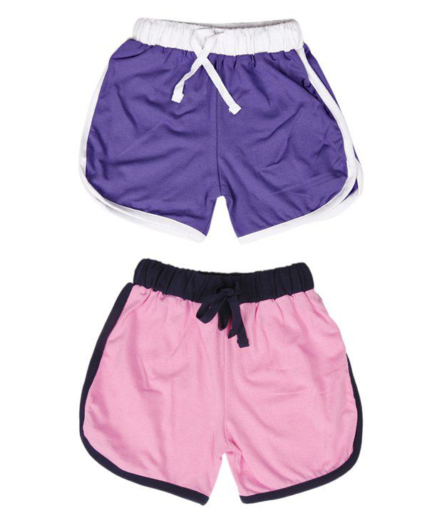 Robinbosky Classy Pink and Purple Pack of 2 Shorts For Kids