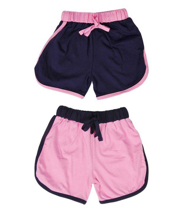 Robinbosky Impressive Navy Blue and Light Pink Combo of 2 Shorts For Kids