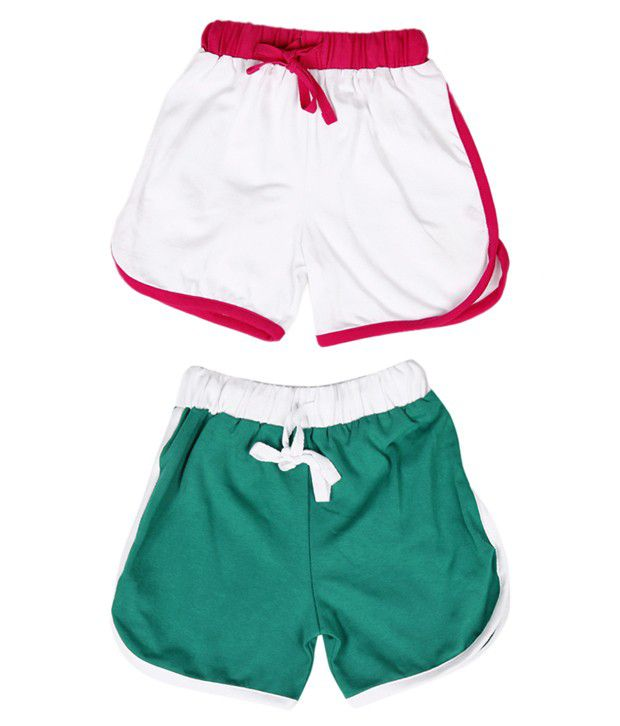 Robinbosky Nifty White and Green Pack of 2 Shorts For Kids