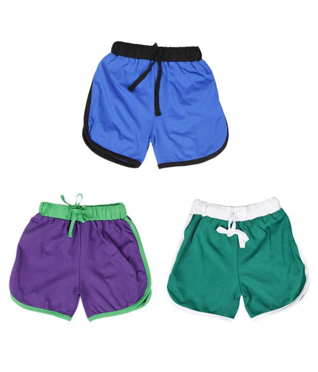 Robinbosky Ultra Soft Multicolour Pack of 3 Shorts For Kids