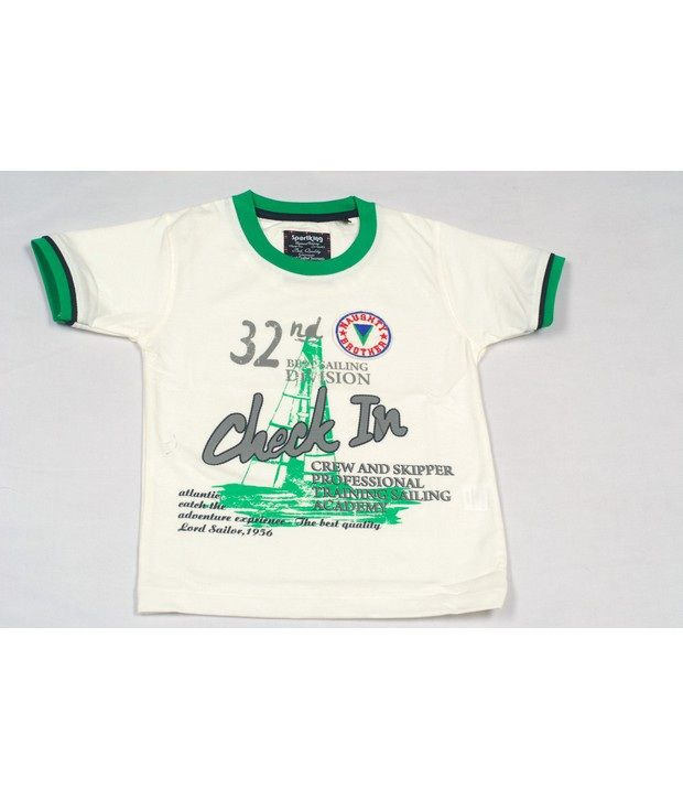 Sportking Offwhite Graphic Printed T-Shirt For Kids