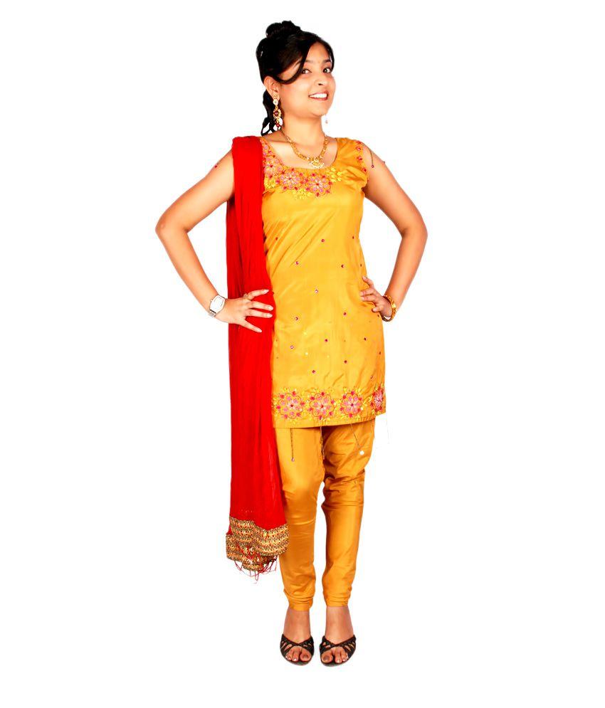 Anaga Yellow Short Kurti and Churidar