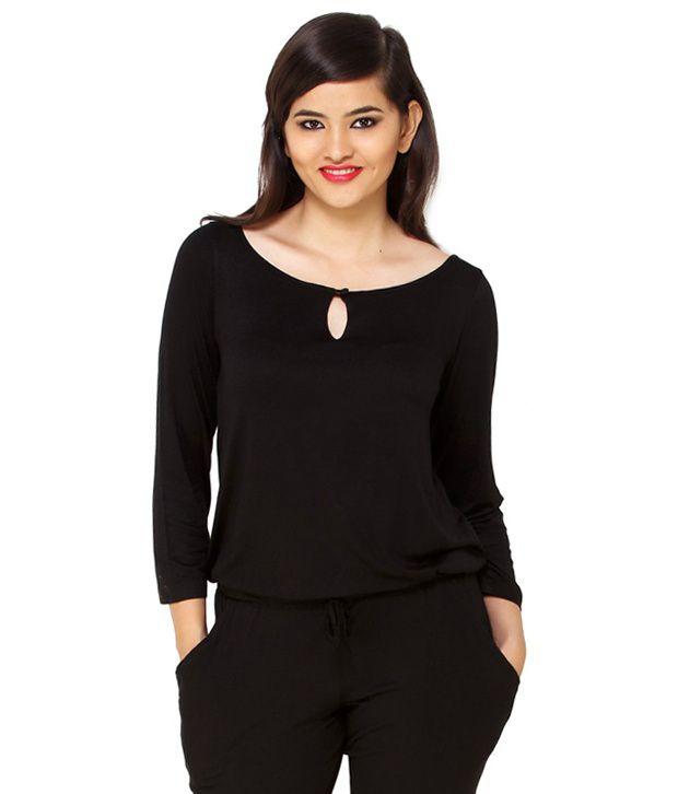 Cottinfab Black Cotton Jumpsuits - Buy Cottinfab Black Cotton ...