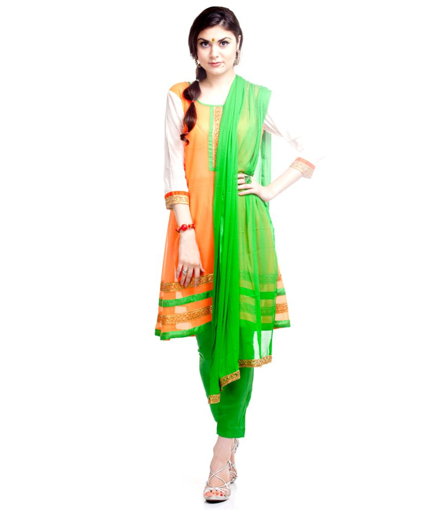 Tri colour salwar kameez