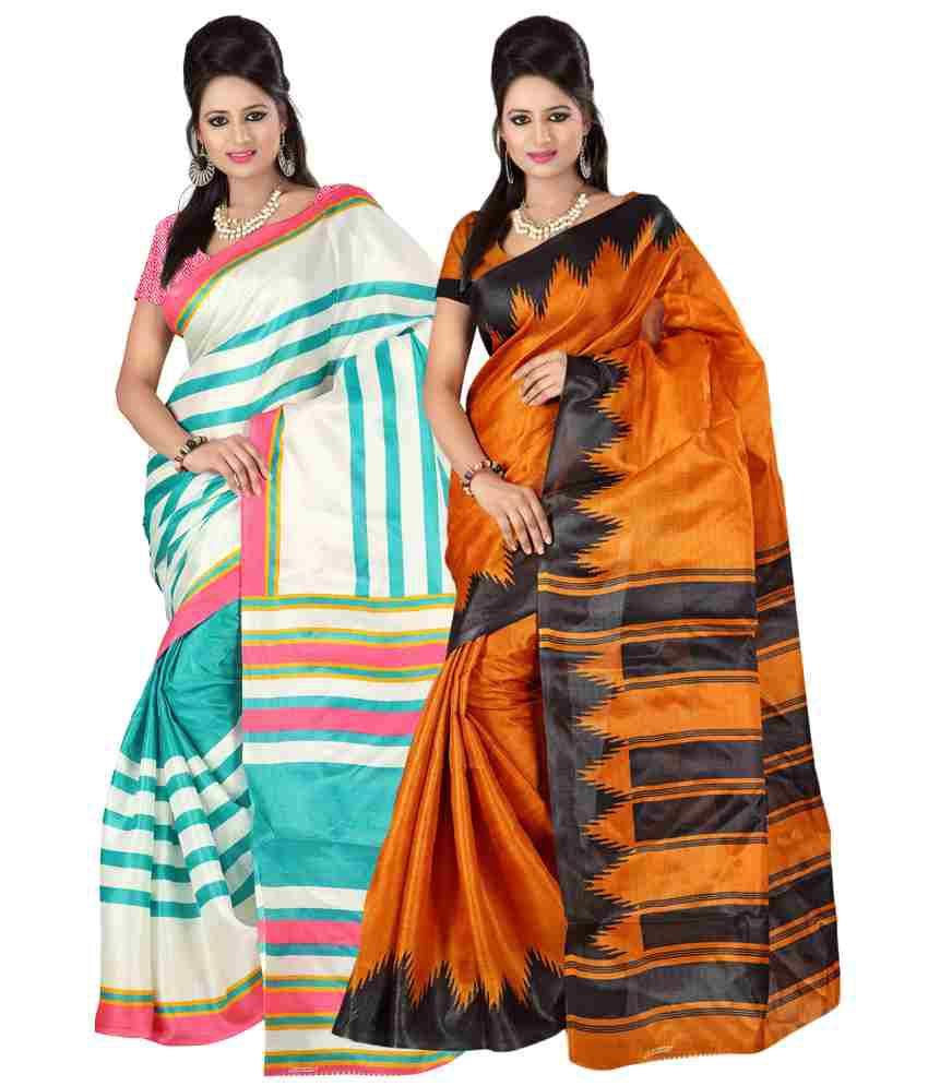 Kajal Sarees Beautiful White And Orange Bhagalpuri Silk Saree Set Of 2