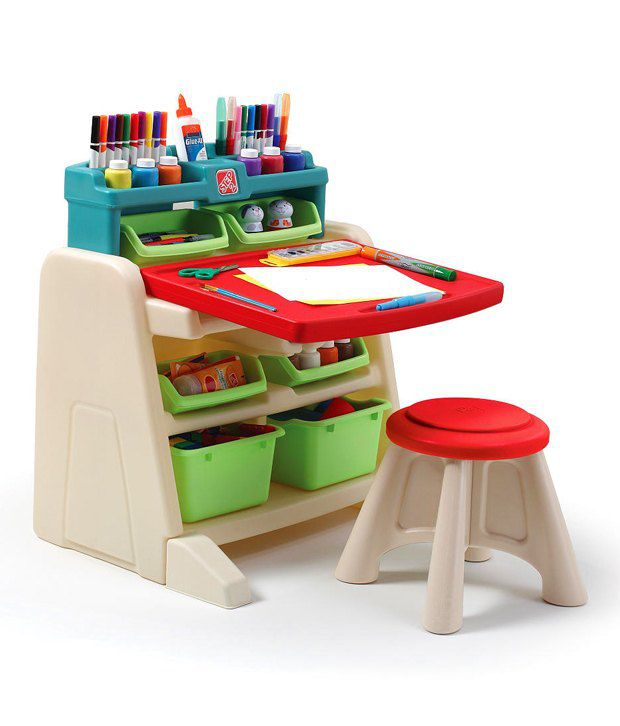 Step2 Flip N Doodle Easel Desk With Stool Activity Kit