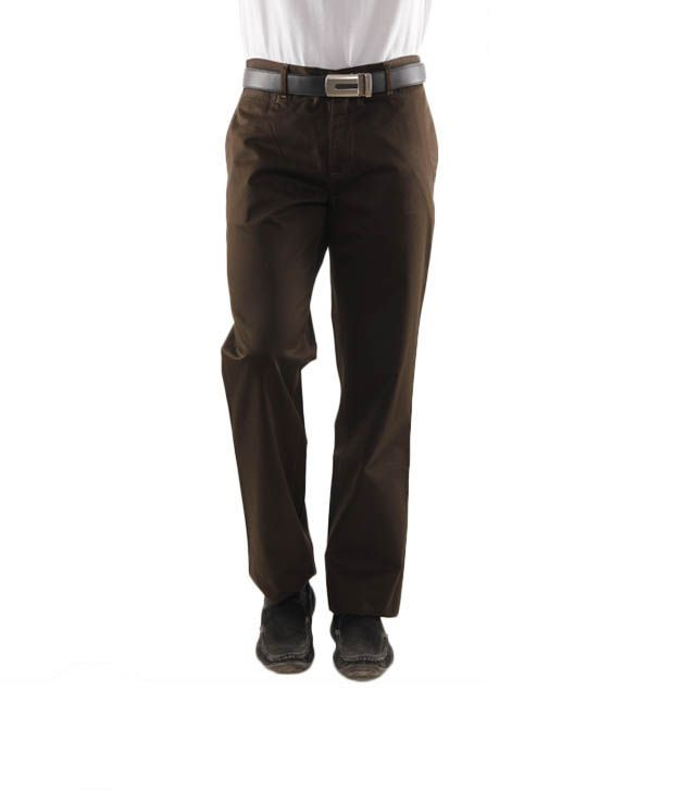 Wills Lifestyle Dark Olive Green Men's Trousers