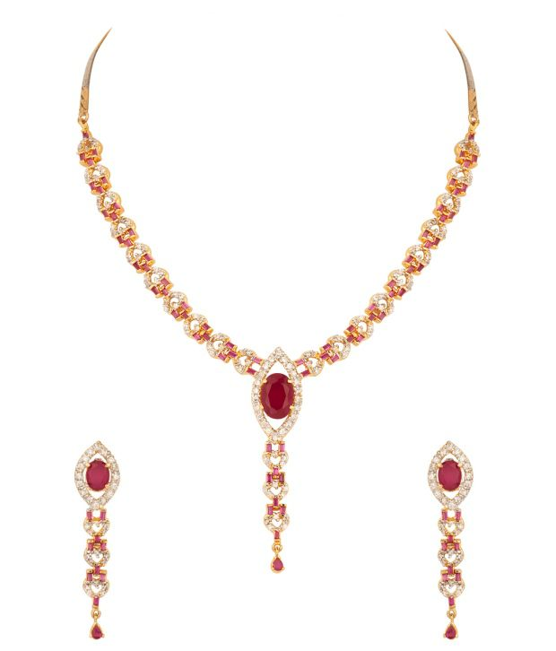 Voylla Drop Style Gold Plated Necklace Set With Maroon Stone