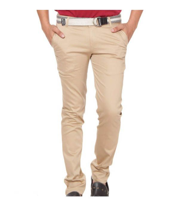 Harvest Classy Light Brown Stretchable Chinos with Free Earphones