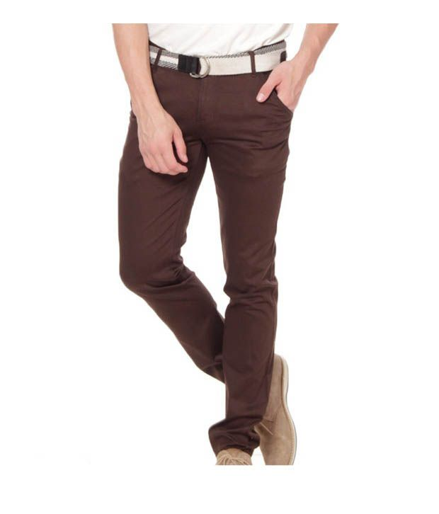 Harvest D-Brown Stretchable Chinos with Free Earphones
