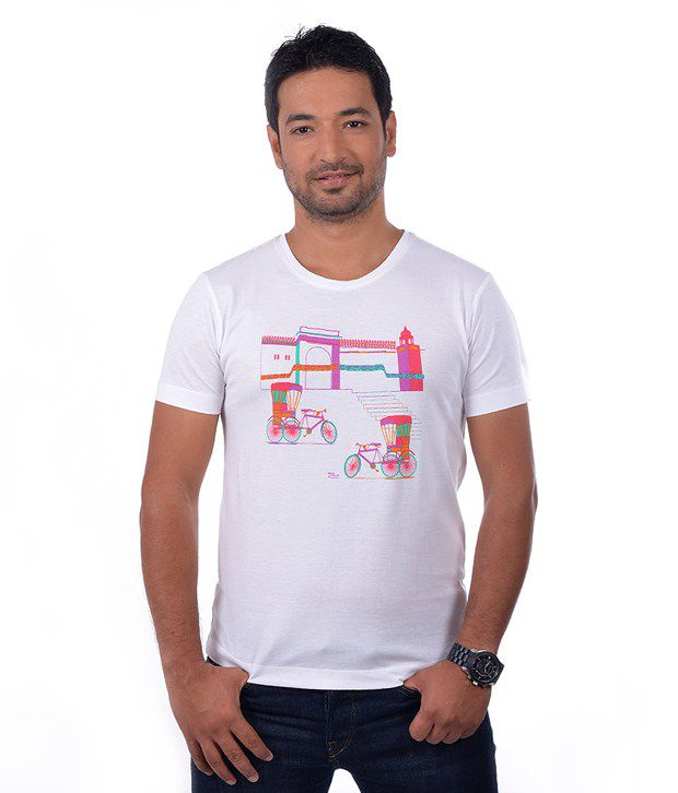 India Circus Stylish White Printed T Shirt