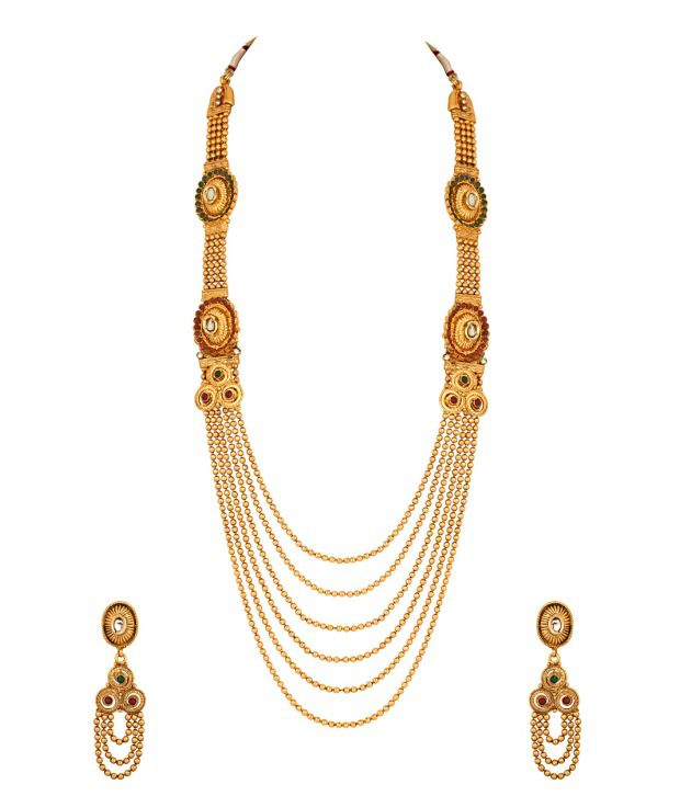 Voylla Long Necklace Set with Golden Bead Strands; Green Stone Studded Design