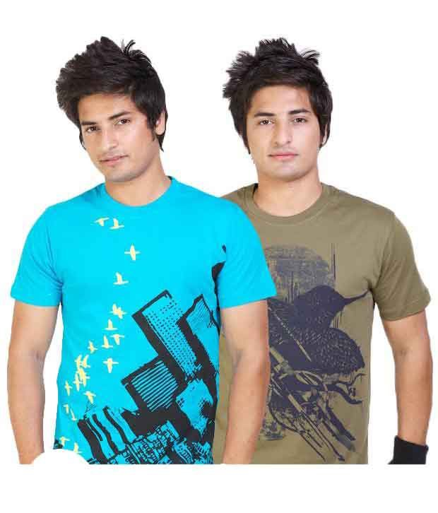 Monarch Pack of 2 Turquoise-Olive T Shirts With Free Sunglasses