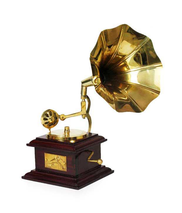 Home sparkle brass square gramophone small buy home for Home decor items online