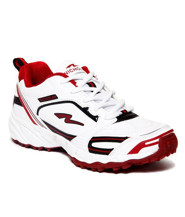 Nicholas Relaible White And Red Sports Shoes