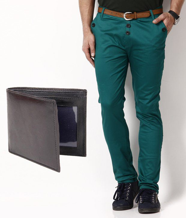 RPB Stylish Green Chinos with Free Wallet