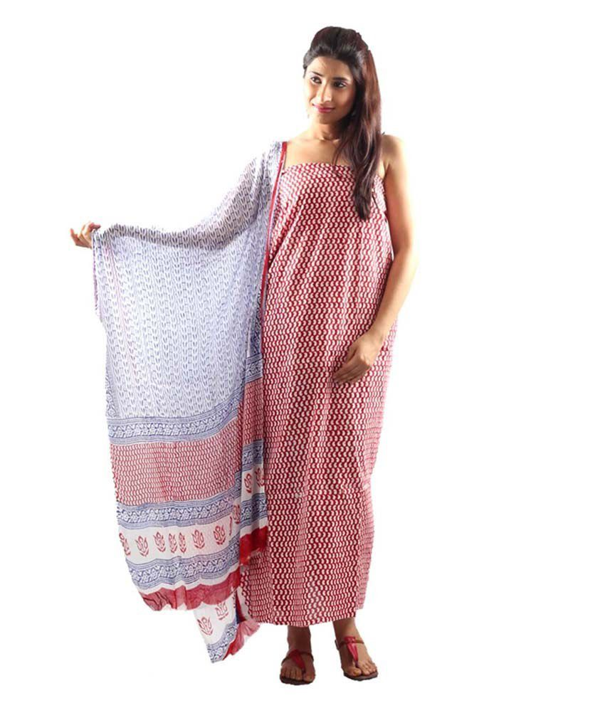 Uptown Galeria Red Casual Dress Material