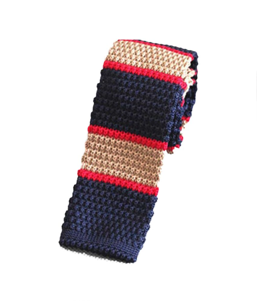 Civil Outfitters Navy & Beige Bold Striped Knitted Tie with Key Chain Dairy With Freebie Card Holder And Keychain