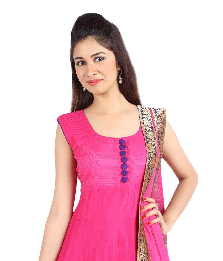 Mina Bazaar Embroidered Pink Cotton Silk Designer Readymade Suit ...