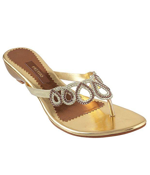 Metro Captivating Golden Heeled Slip-on