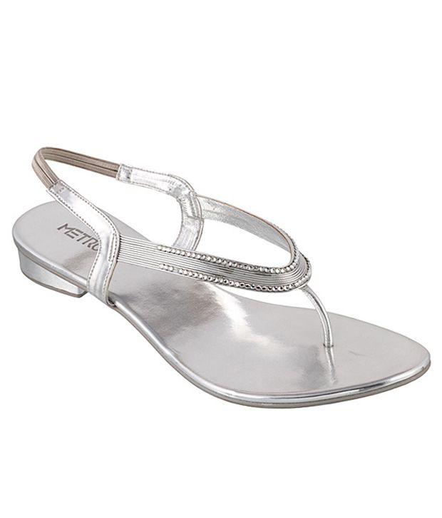 Metro Enchanting Silver Heeled Sandals