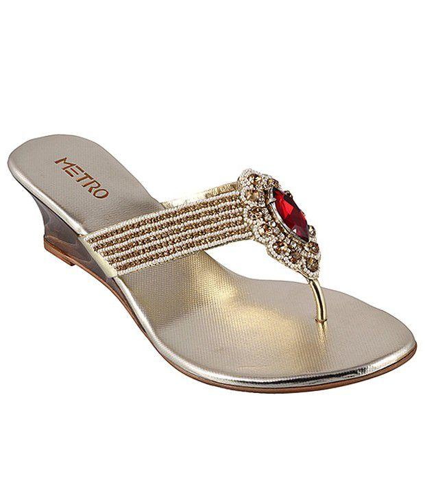 Metro Stylish Golden Heeled Slip-on