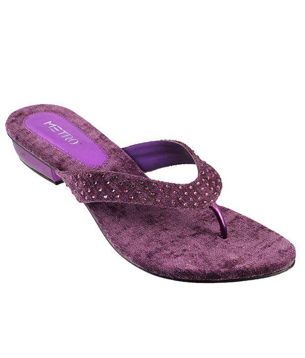 Metro Stylish Purple Heeled Slip-on