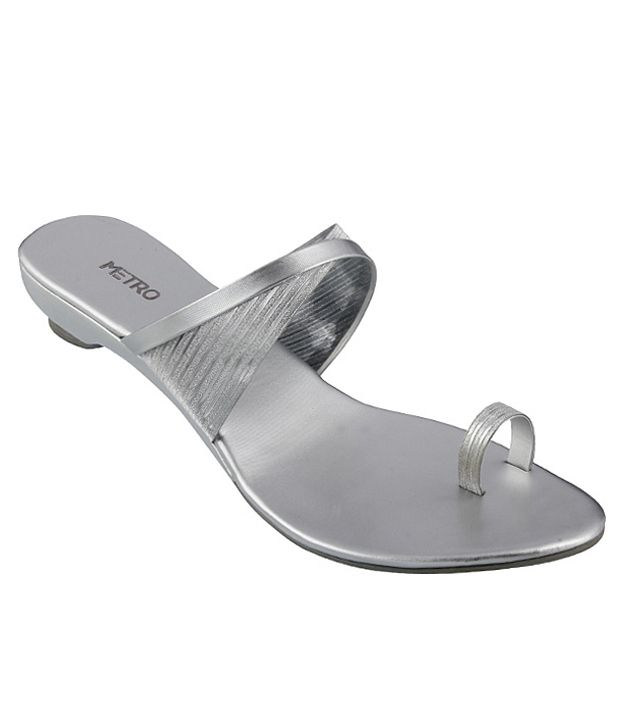 Metro Stylish Silver Heeled Slip-on