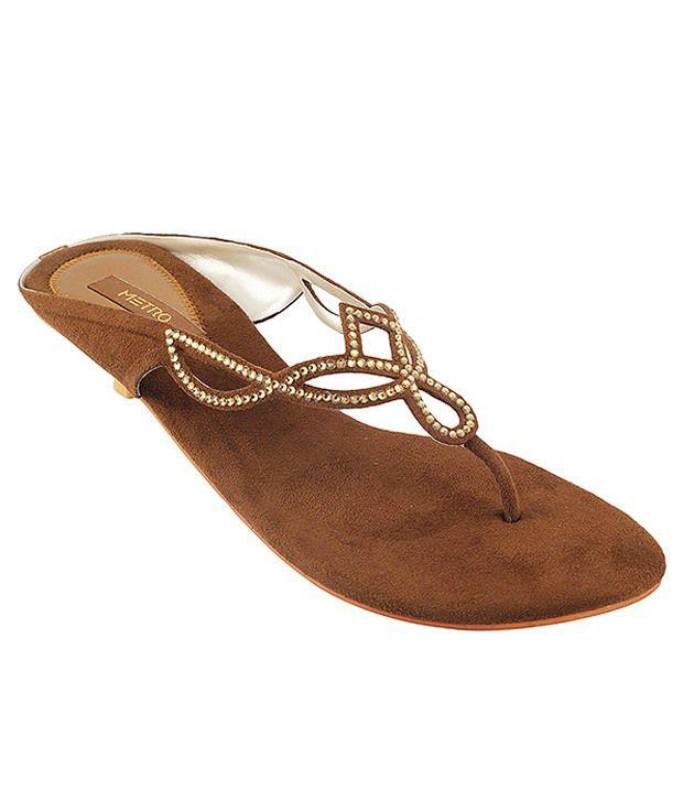 Metro Voguish Golden Heeled Slip-on
