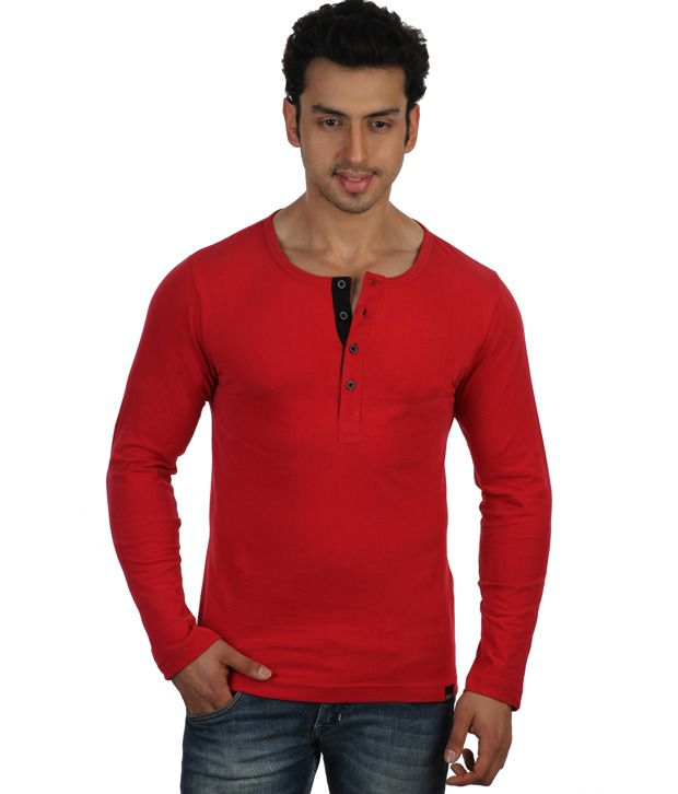 Rigo Red Full Sleeves Cotton Henley T-Shirt