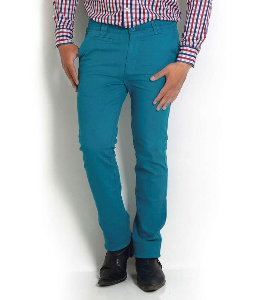 Solemio Turquoise Slim Casuals Chinos