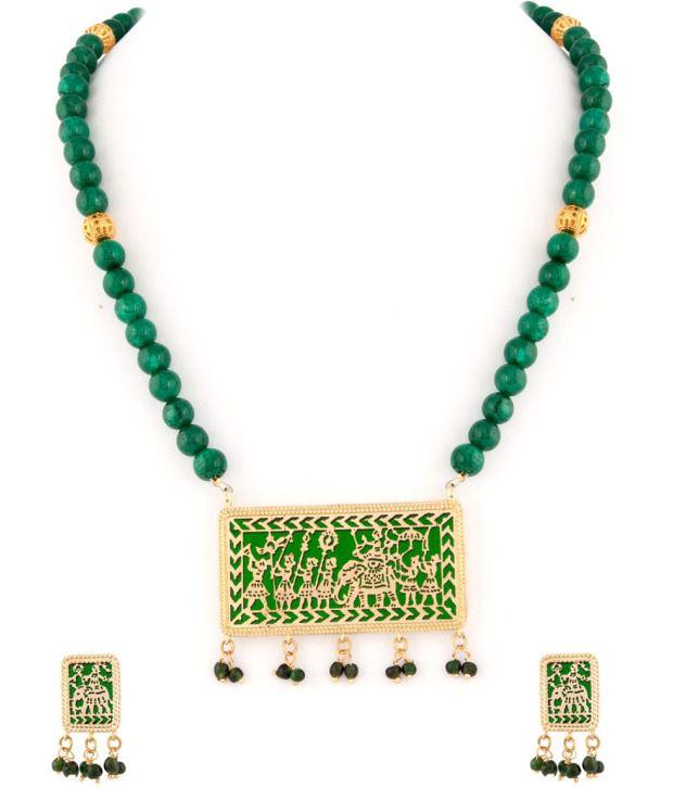 Voylla Captivating Green Bead Thewa Art Necklace Set