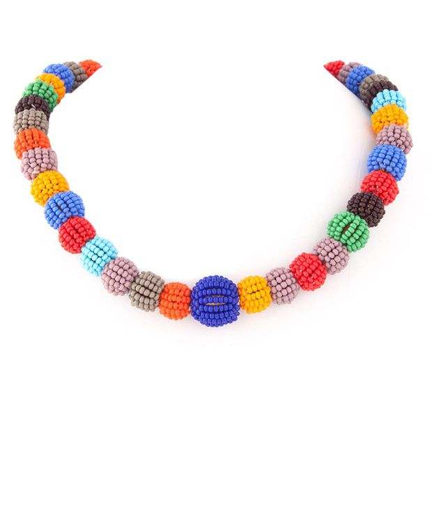 Voylla Fascinating Colourful Glass Seed Bead Necklace
