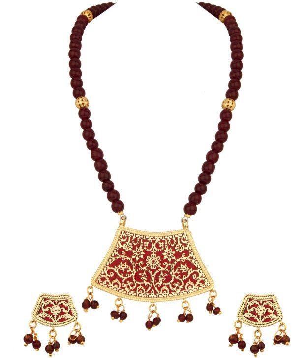 Voylla Gracious Floral Thewa Art;Maroon Bead Necklace Set