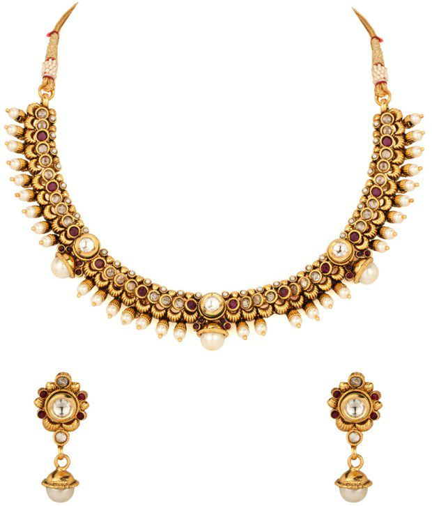Voylla Pristine Pearl Encrusted Gold Plated Necklace Set