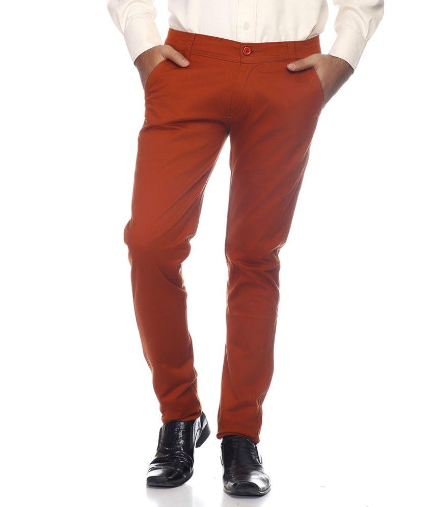 Coaster Orange Slim Casuals Chinos