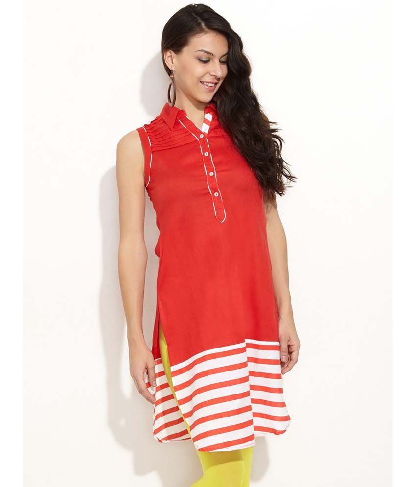 SIA Fashions Orange Solids Cotton Sleeveless Long Kurtis