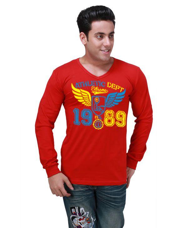 Inkovy Red Full Cotton V-Neck T-Shirt