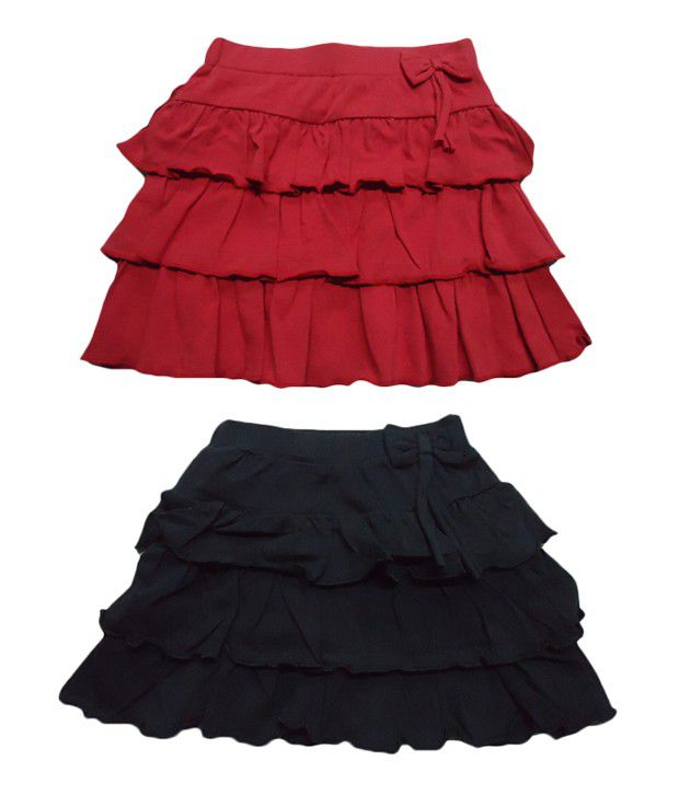 Jus Cubs Pack of 2 Reffles Skirts in Red & Black Colors For Girls