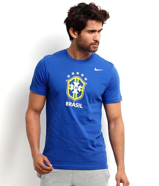 Nike Blue Half Cotton Round  T-Shirt
