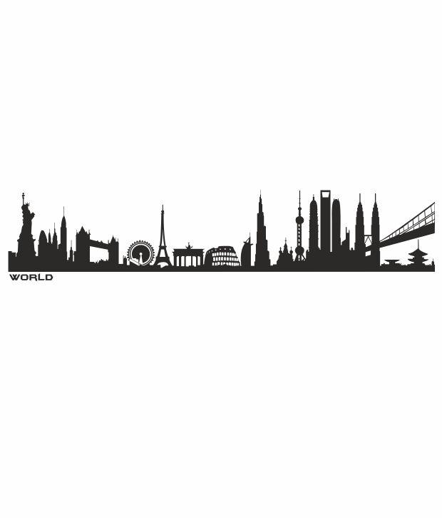 imposingartwork world skyline silhouette wall decals