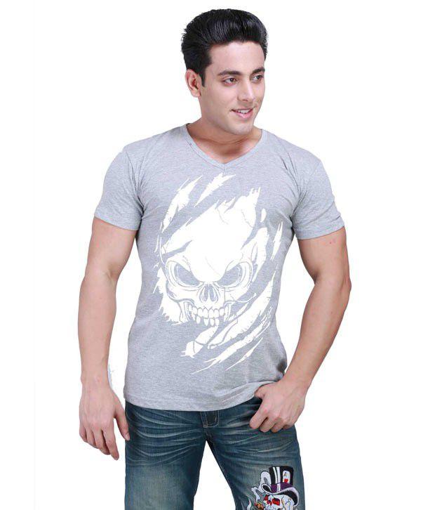 Inkovy Grey Half Cotton V-Neck T-Shirt