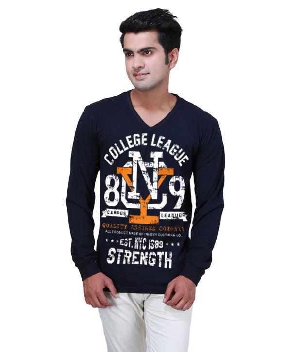 Inkovy Navy Full Cotton V-Neck T-Shirt