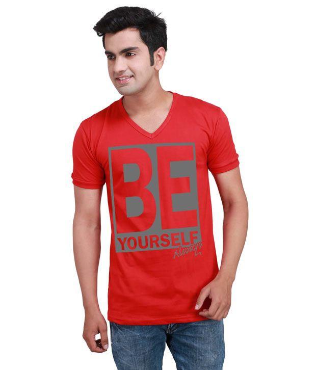 Inkovy Red Half Cotton V-Neck T-Shirt
