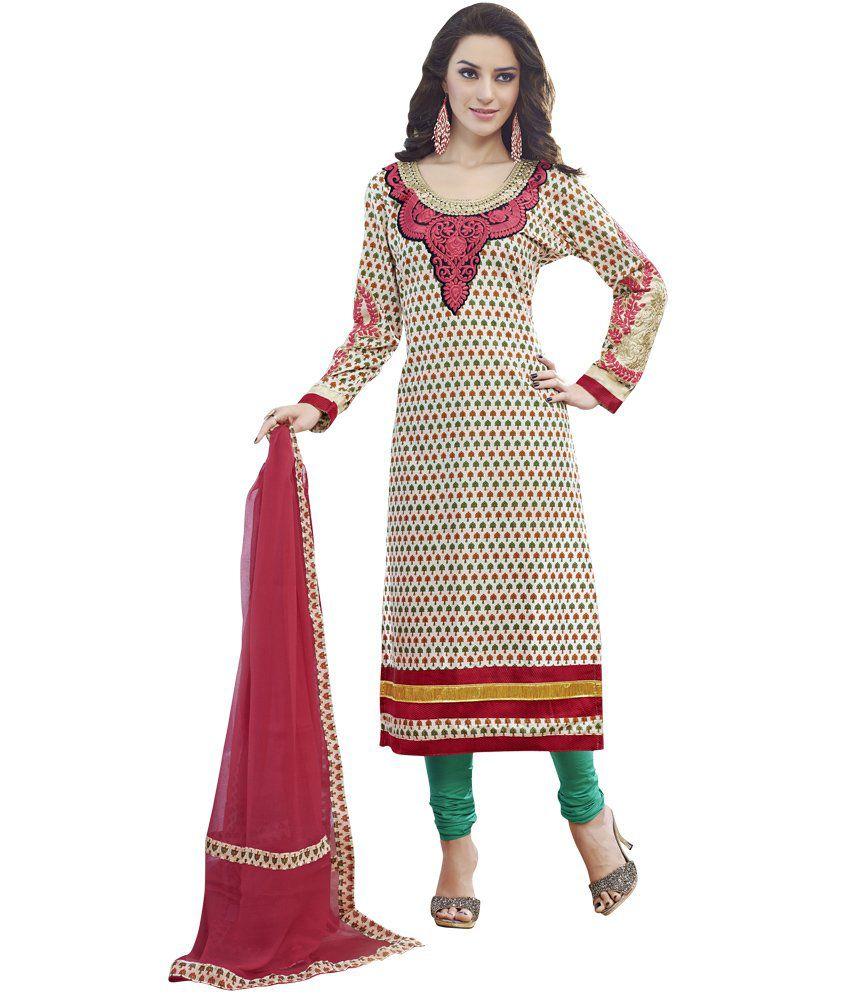 Prafful Cream Cotton Embroidery Dress Material With Dupatta - Buy Prafful Cream Cotton ...