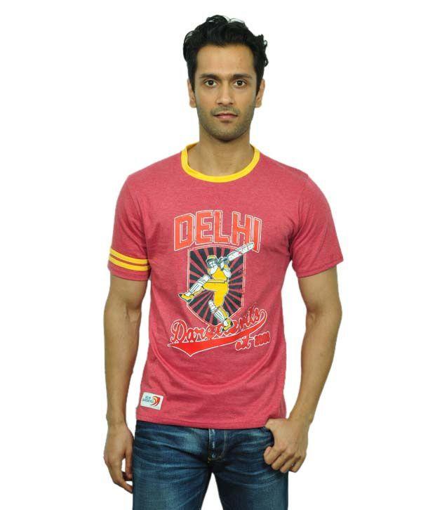 Delhi Daredevils Red Half Cotton Round  T-Shirt
